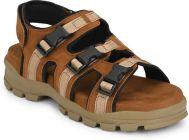 AUSTINJUSTIN Colorblock Pattern Solid Top Grain, Synthetic Material, Airmix Sole Sandal For Men (Color-Tan)