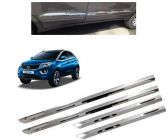 After Cars Tata Nexon EV Car Steel Side Beading with Steel Chrome Bumper Protector Guard (Set of - 4) Combo Set