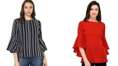G.P Daisy Red Bell Sleeve and Stripped Bell Sleeve Top Combo