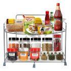 Stainless Steel Spice 2-Tier Trolley Container Organizer Organiser, Basket for Boxes Wall Mount Utensils Dishes Plates for Home