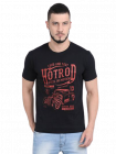 Men's Comfortable Modern Fit Printed Cotton Round Neck Casual T-Shirt (Black) (Pack of 1)