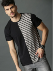 Self Pattern Cotton Round Neck Half Sleeves T-Shirt For Men's (Multicolor)