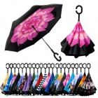 Polyester Fabric Double Layer Reverse Foldable Windproof Unisex Umbrella With C Shape Handle (Multicolour)