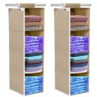 Unicrafts Clothes Hanging Organizer 4 Shelves Non-Woven Foldable and Universal Fit Closet Organizer Collapsible Wardrobe Organiser for Regular Garments Cupboard (Pack of 2)
