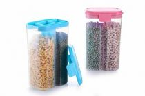 VRENTERPRISE 2 Section Container for Storing Spices Pulses (Pack of 2)