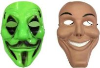 PTCMART Vendetta And Joker Look Design Full Face Cover Mask For Play Role Party Mask  (Multicolor, Pack of 2)