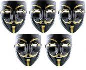 PTCMART Vendetta Comic Face mask black and golden mask for kids Gift (Pack of 5)