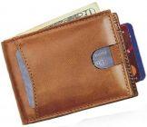 Men Brown Genuine Leather RFID Wallet(5 Card Slots)