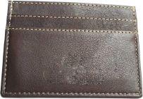 Men Brown Genuine Leather RFID Card Holder  (5 Card Slots)