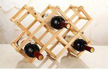 Foldable Wooden Display Rack Shelf Wine Bottle Storage Slots For Home