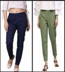 Women's Trendy Cotton Slub Ethnic Ankle-Length Regular Fit Casual Trouser Pants with Pockets (Set of 2)
