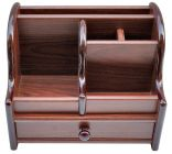 Cyalerva Multi-Purpose Wooden Pen Stand With Drawer For Office Use