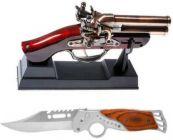 YadavEnterprises Knife for Hiking, Camping, Travelling & a Antique Gun Cigarette, Cigar, Refillable Pocket Lighter (Pack of 2)   (Multicolor)