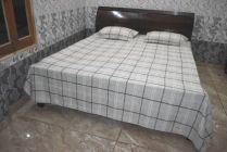 YadavEnterprises 450 TC Silk, Microfiber Double King, Double Checkered Bedsheet (Pack of 1) | (White, Grey)