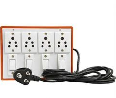 Anchor Pins N Plugs Extension Board 5A 4 Switches + 5A 4 Socket and 2.5 Meters Long Wire Power Strip (Brown)