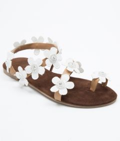 PAJIKA White Floral Sandals | Floral Embellished Toe Ring Casual Sandals