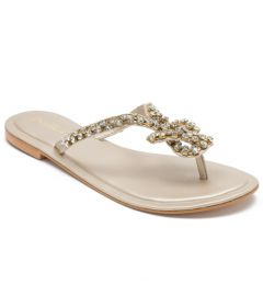 Sparkle Gems Slide Slip-On| Embroidered Flats For Women's