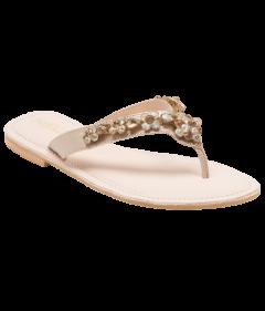 PAJIKA Rose Gold Jeweled Flat Sandal | Gold Embellished Flats for Women's