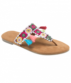PAJIKA Friendship Multi Sandals | Embroidered flats For Women's