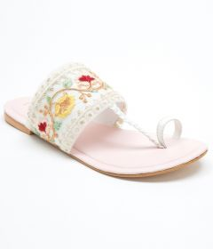 PAJIKA Women's Hand Floral Embroidery Sandal | Beautifully Handcrafted Slipper - White/Pink