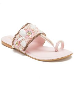 PAJIKA Women's Pearl Embellished Pink Flats Latest Collections