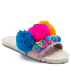 PAJIKA Pom Pom Décor Slide With Jute Footbed | Floral Design for Women's Slippers