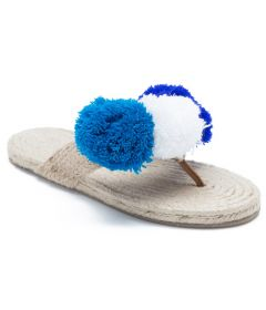 PAJIKA Pom Natural Jute Thong With Pom Pom | Newly Look Design for Women's Slippers