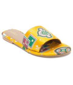 PAJIKA Mustard Yellow Handweave Velvet Slide | Slipper & Sandals