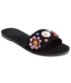 PAJIKA Floral Design Sequins Black Slippers & Sandals For Women's