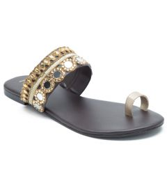 Mirror Jewled Gold Slides   Ethnic Slides Suitable For Wedding, Family Rituals   Color - Black