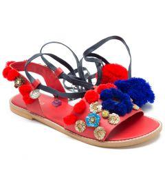 Pajika's Red & Blue Leather Sandals | Mirror & Pom Pom Jewled Red Gladiator
