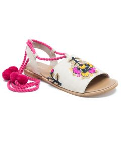Spring Flower To Pom-Pom Lace-ups Stunning Colorful Style Women's Sandals