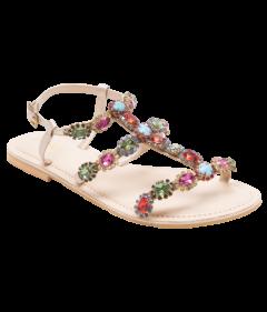 PAJIKA Classy Pair Jeweled Women's Flat Sandals