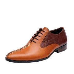 SCHMITZ Handstitched Brown & Tan Leather Lace-Up Formals Shoes