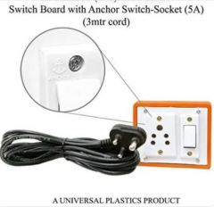 Anchor Pins N Plugs Extension Board 1 Switch Board + 5A 1 Socket and 3 meters Long Wire Power Strip (Brown)