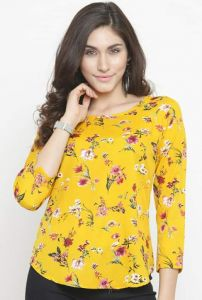 Womens Western Wear Yellow Floral Printed Top -Bagrecha Creation-YFPT_16