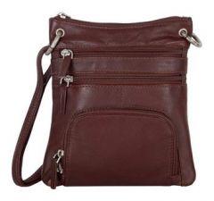 ASPENLEATHER Genuine Leather Cross Body Bag - Brown