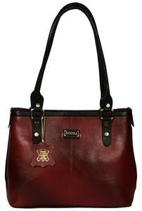 Women's Mahroon Color Shopper Leather bag