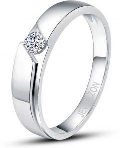 Jewelzon Silver 925 Rhodium Plated swarovski American Diamond Ring For Men | Sterling Silver | Swarovski Crystal | Rhodium Plated Ring