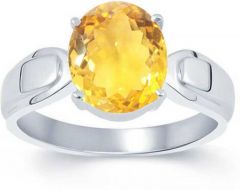 Jewelzon Certified Citrine 4.8 carat or 5.25 ratti Pure Silver Ring   Citrine Rhodium   Sterling Silver Plated Ring (sunela)