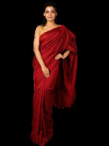 Handloom Soft Khadi Saree With Blouse Piece - Metallic Red