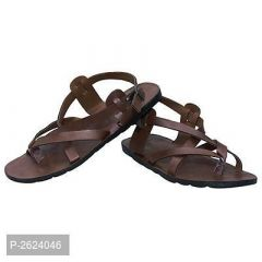Mens Stylish Solid Gladiators Synthetic Leather Casual Sandal (Dark Brown)