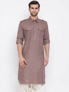 Stylish Cotton Blend Knee-Length Pathani Style Kurta For Men (Brown)