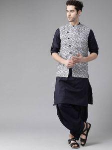 Trendy Printed Knee Length Cotton Dhoti, Kurta & Koti For Men & Boy (Grey)