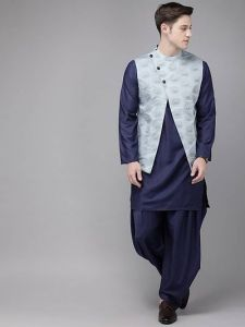 Trendy Printed Knee Length Cotton Dhoti, Kurta With Koti For Men & Boy (Navy Blue)