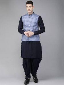 Printed Trendy Cotton Dhoti, Kurta With Koti For Men (Multicolor)