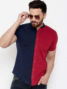 Men's Multicolored Cotton ColorblockedShort Sleeves Regular Fit Casual Shirt