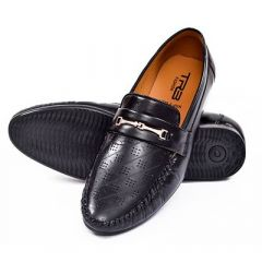 Men's Trendy Synthetic Leather Loafer Shoes For Party Wear (Black)