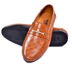 Men's Trendy Synthetic Leather Loafer Shoes For Party Wear (Tan)