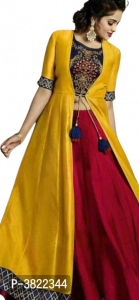 Women's Beautiful Blue Embroidery Choli Muster Shrug Reddish Maroon Skirt Set